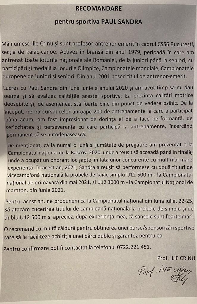 Scrisoare de recomandare antrenor ILIE CRINU
