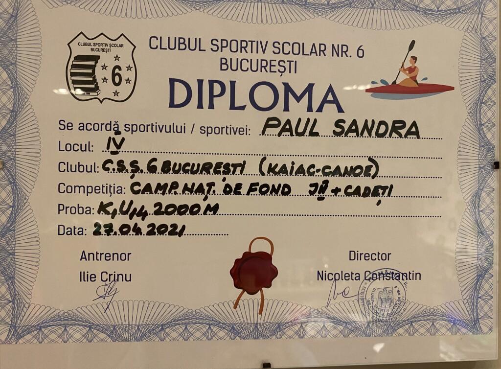 diploma loc IV K1 U14 2000 m 2021